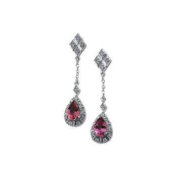 Genuine Pink Tourmaline & Diamond Earrings