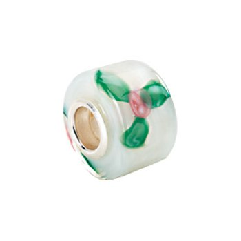 Kera White Murano Glass Roses Wheel Bead