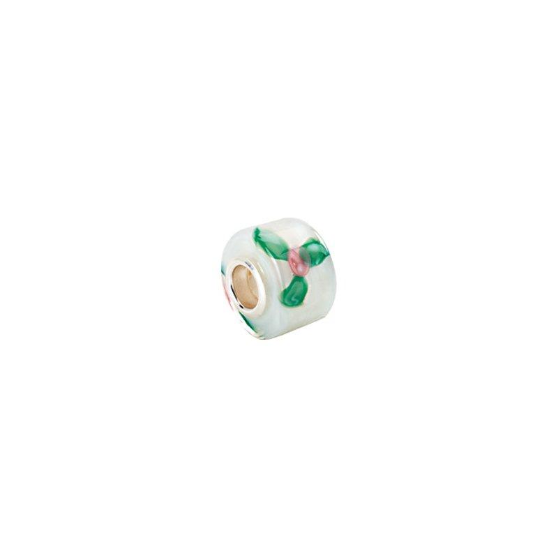 Holiday Ideas Kera White Murano Glass Roses Wheel Bead