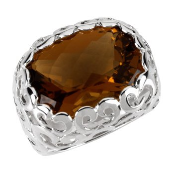 Genuine Checkerboard Honey Quartz Ring