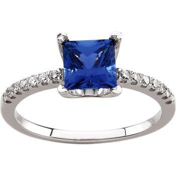 Chatham Created Sapphire & Diamond Ring