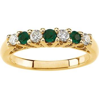 Emerald & Diamond Band Ring