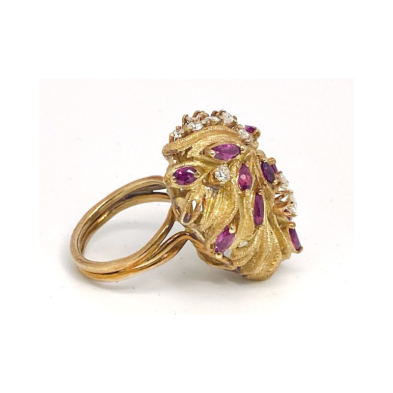 """Estate & Vintage Lady's vintage ruby, diamond and yellow gold freeform ring, 1.25"""" in length"""