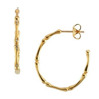 Diamond Bamboo Earrings
