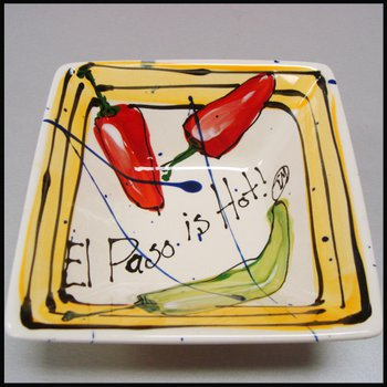 "Heart Beat of El Paso ""El Paso is Hot!"" Square Dinner Bowl"
