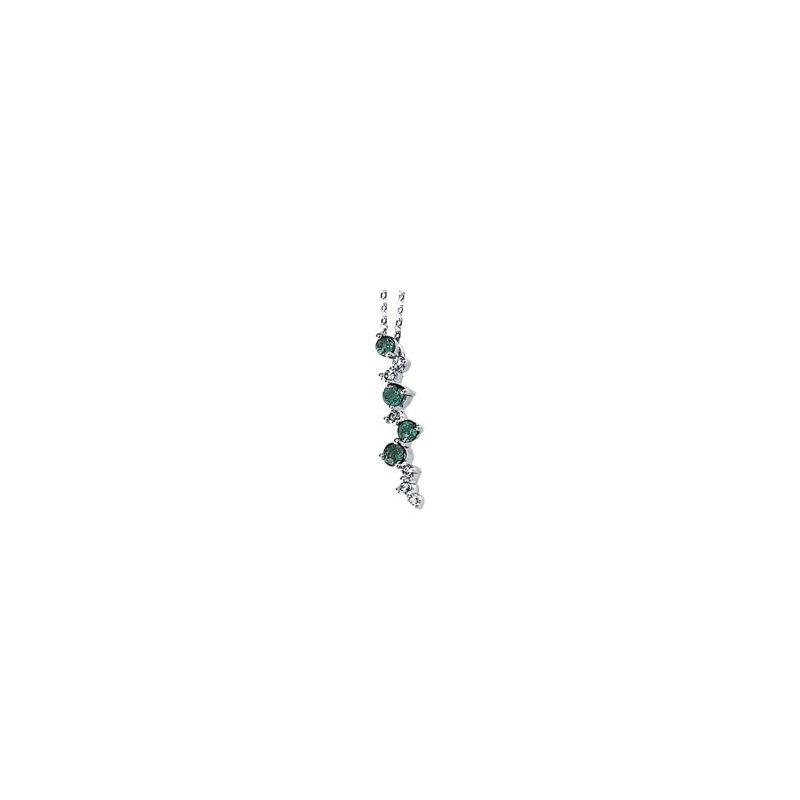 Ladies' Jewelry Genuine Emerald & Diamond Necklace