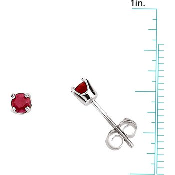 Children's Genuine Ruby July Birthstone Earrings