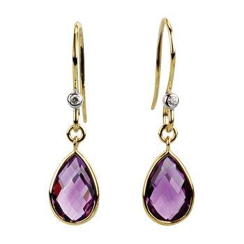 Genuine Amethyst & Diamond Earrings