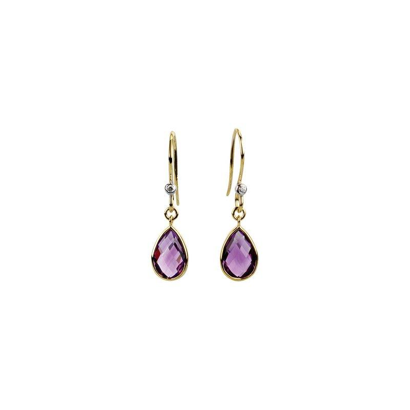 Holiday Ideas Genuine Amethyst & Diamond Earrings