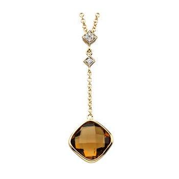 Genuine Checkerboard Cinnamon Quartz & Diamond Necklace