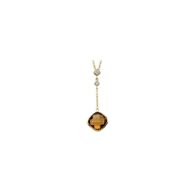 Ladies' Jewelry Genuine Checkerboard Cinnamon Quartz & Diamond Necklace