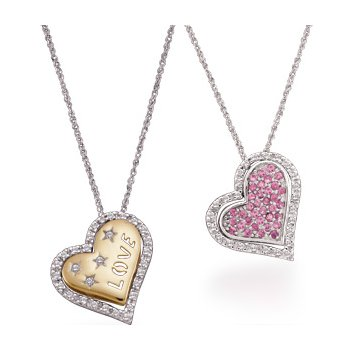 Genuine Pink Sapphire & Diamond Interchangeable Heart Necklace