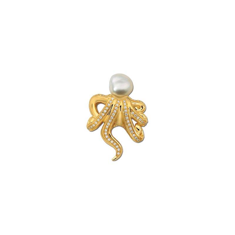 Ladies' Jewelry South Sea Cultured Pearl & Diamond Octopus Brooch