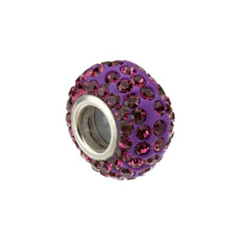 Kera Roundel Bead with Pav? Purple Crystals