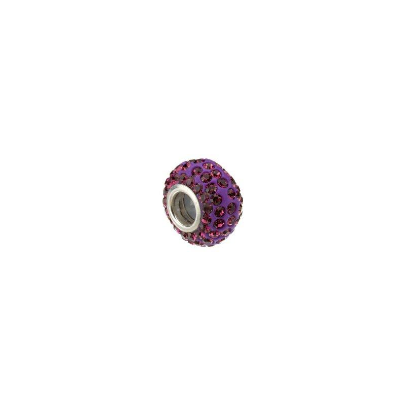Holiday Ideas Kera Roundel Bead with Pav? Purple Crystals