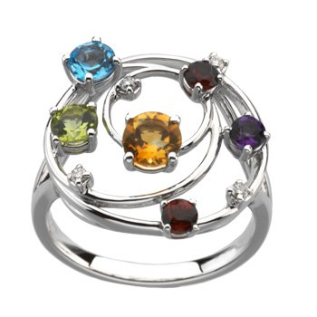 Genuine Multicolor Gemstones & Diamond Ring