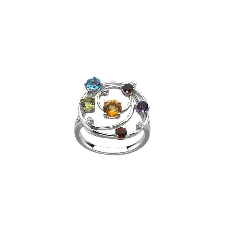 Holiday Ideas Genuine Multicolor Gemstones & Diamond Ring
