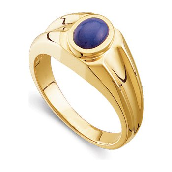 Men's Synthetic Blue Star Sapphire Ring