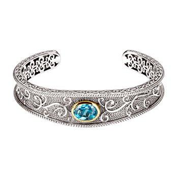 Genuine Swiss Blue Topaz Cuff Bracelet
