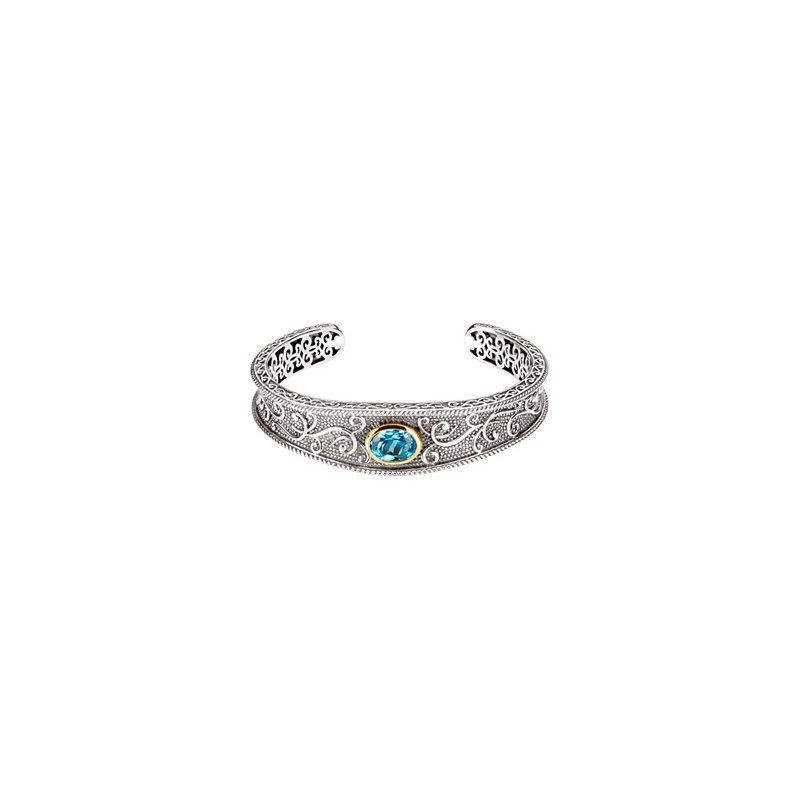 Ladies' Jewelry Genuine Swiss Blue Topaz Cuff Bracelet