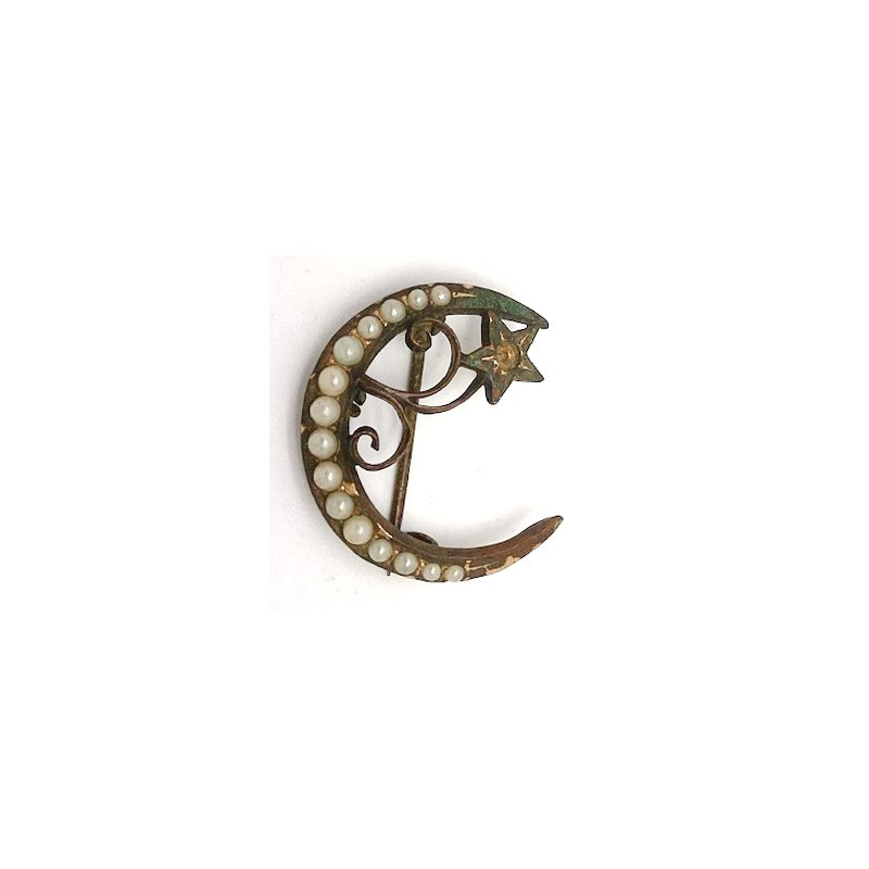 Estate & Vintage Lady's vintage seed pearl and gold tone pin