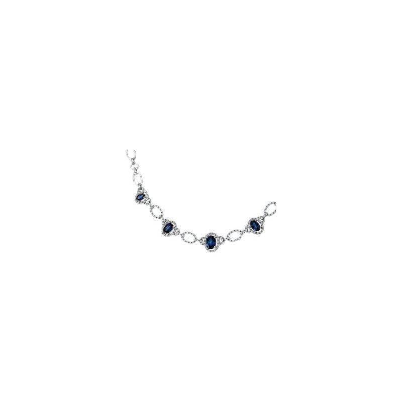 Holiday Ideas Genuine Blue Sapphire & Diamond Necklace
