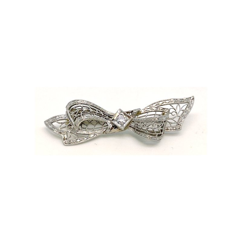Estate & Vintage Lady's vintage Art Deco design white gold and diamond ribbon brooch