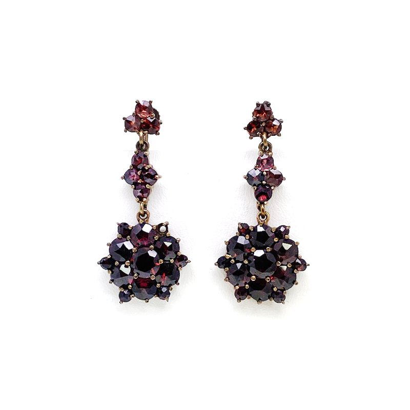 Estate & Vintage Lady's vintage garnet and gold tone dangle earrings with screw clips