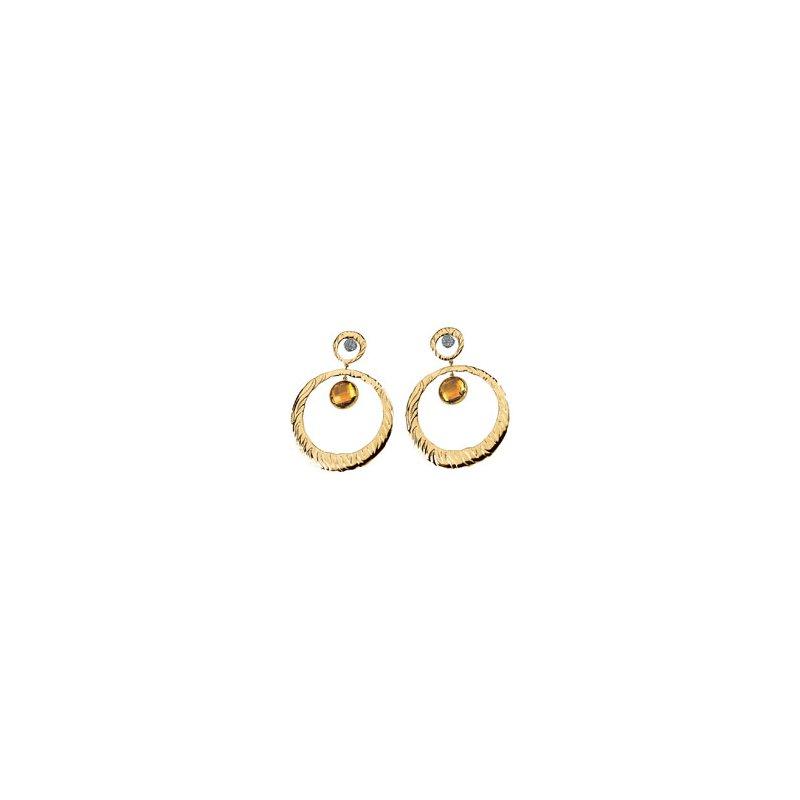 Ladies' Jewelry Genuine Checkerboard Citrine & Diamond Earrings