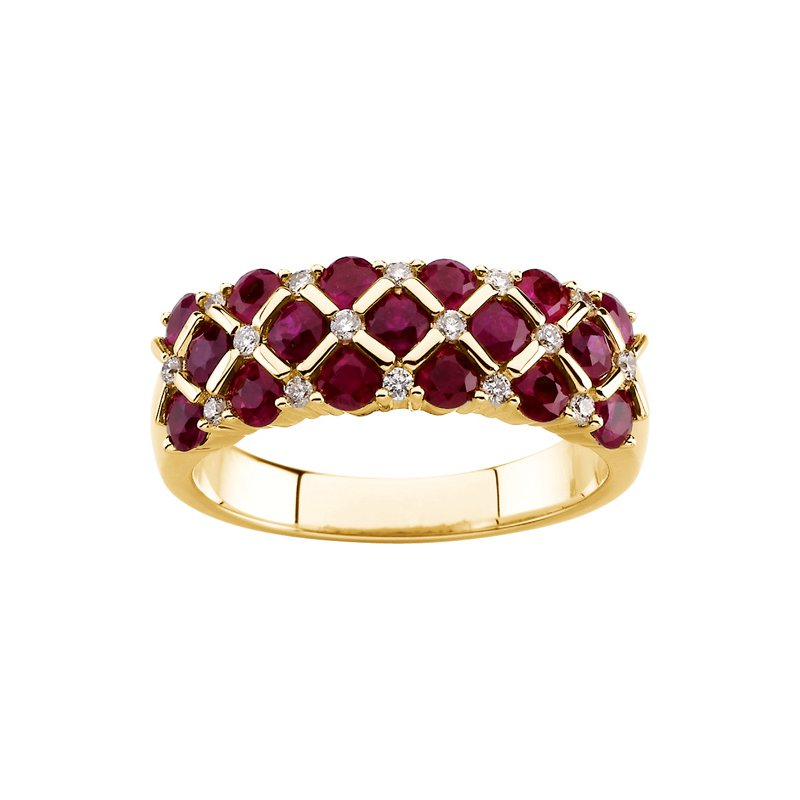 Ladies' Jewelry Genuine Ruby & Diamond Ring