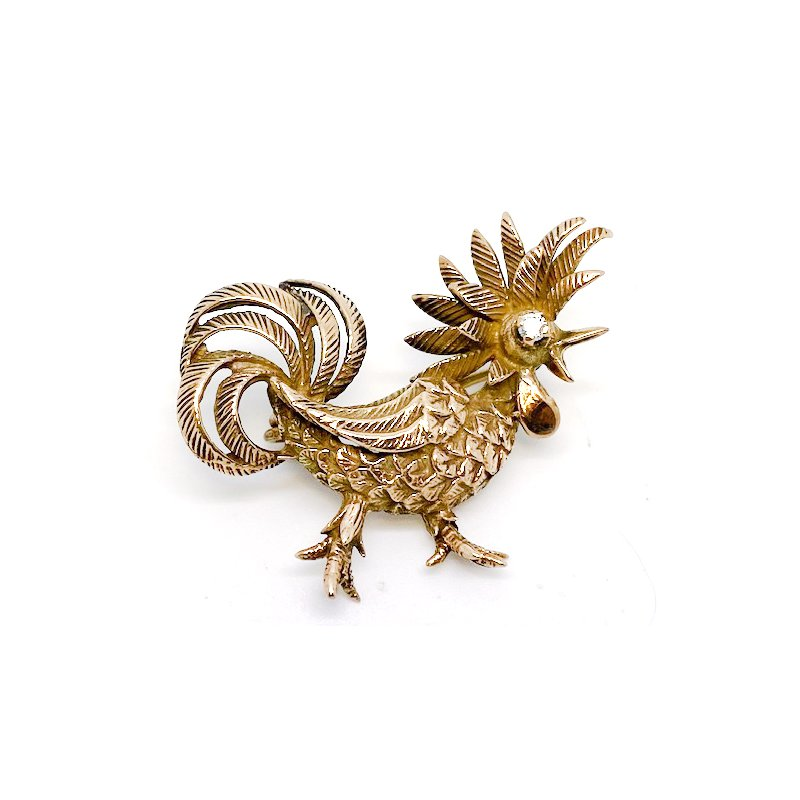 Estate & Vintage Lady's yellow gold rooster brooch