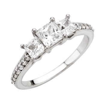 Accented Three Stone Princess Semi-Mount Engagement Ring