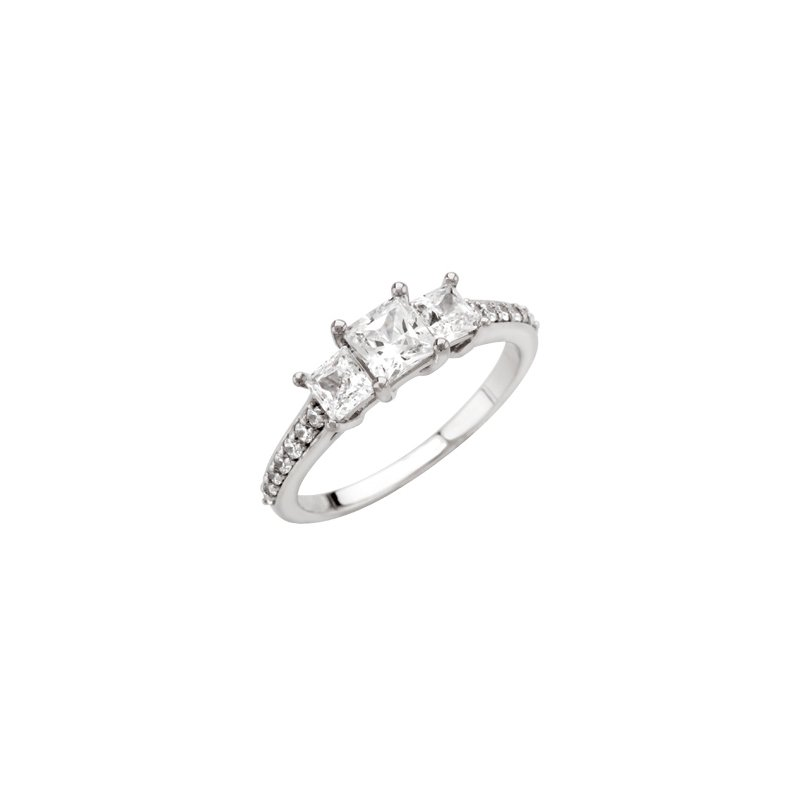 Holiday Ideas Accented Three Stone Princess Semi-Mount Engagement Ring