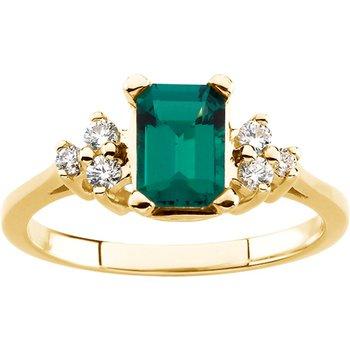 Chatham Created Emerald & Diamond Ring