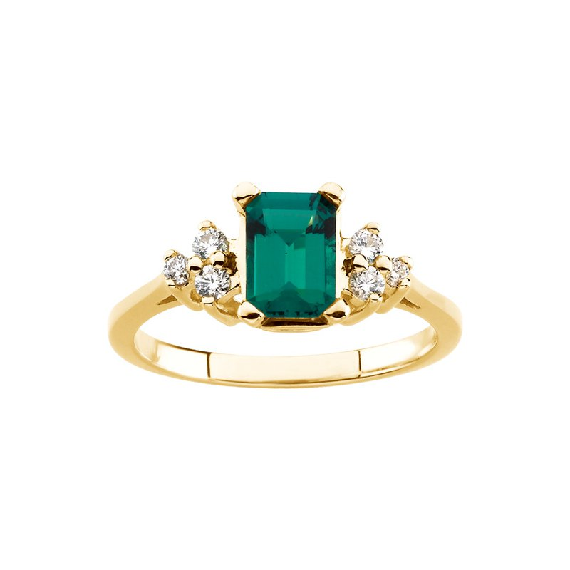 Ladies' Jewelry Chatham Created Emerald & Diamond Ring