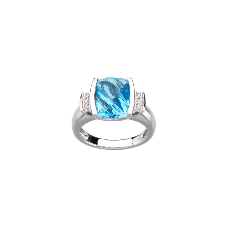 Ladies' Jewelry Genuine Carved Swiss Blue Topaz & Diamond Ring