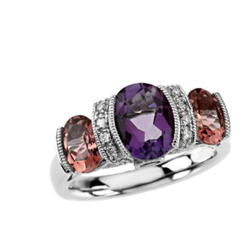 Genuine Multi Gem-stone & Diamond Ring