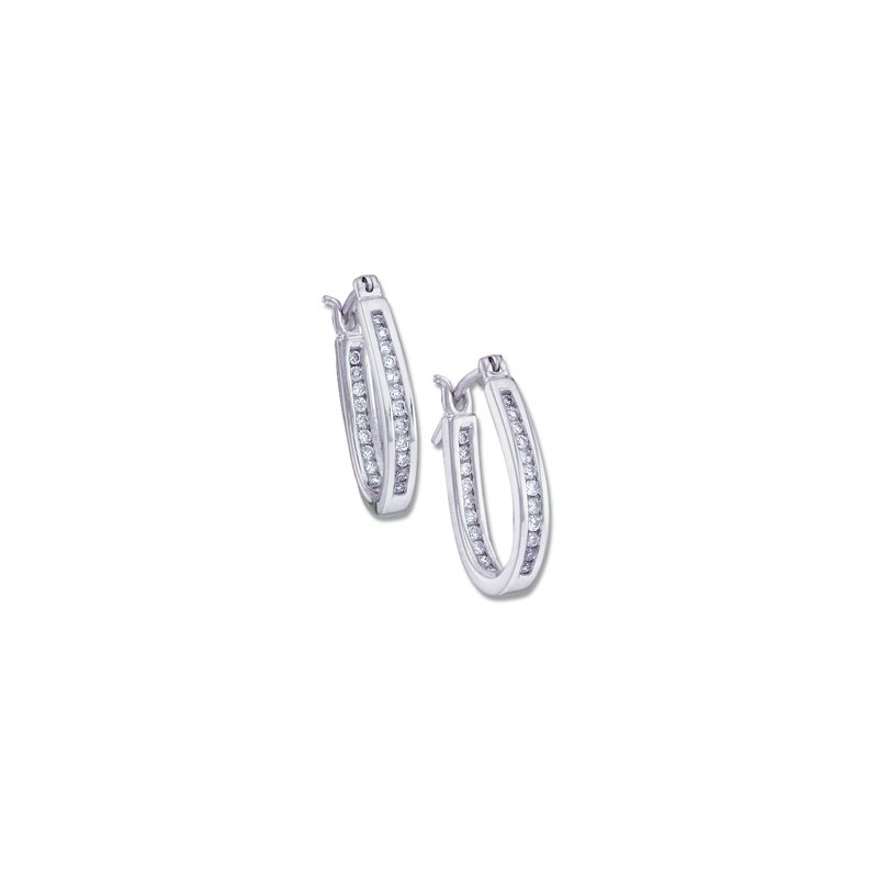 Ladies' Jewelry 1/4 ct tw Diamond Inside-Outside Hoop Earrings