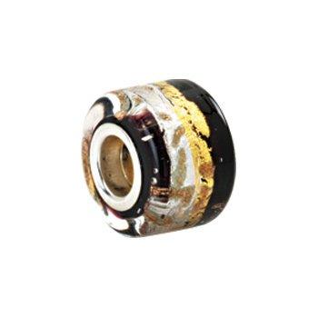 Kera Silver, Black & Gold Murano Glass Wheel Bead