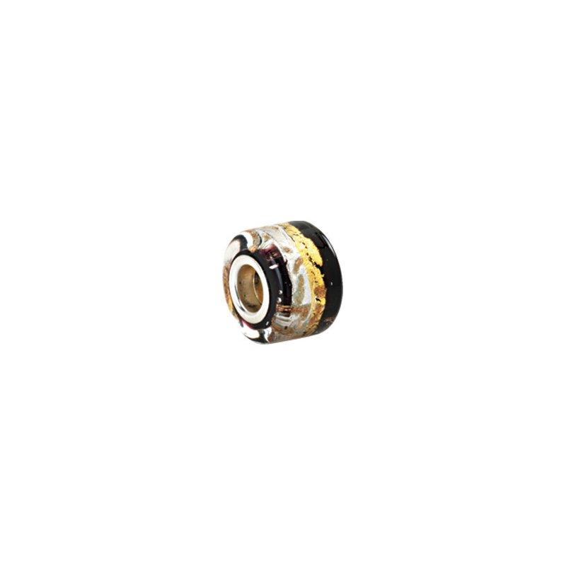 Holiday Ideas Kera Silver, Black & Gold Murano Glass Wheel Bead