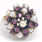 Estate & Vintage Lady's vintage light pink stones, pearl and yellow gold dome ring