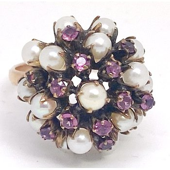 Lady's vintage light pink stones, pearl and yellow gold dome ring