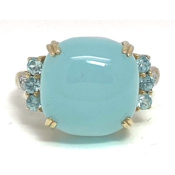 Lady's vintage translucent aqua color stone, diamond and two-tone gold ring