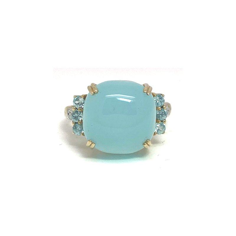 Estate & Vintage Lady's vintage translucent aqua color stone, diamond and two-tone gold ring