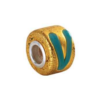 Kera Gold & Turquoise Murano Glass Wheel Bead