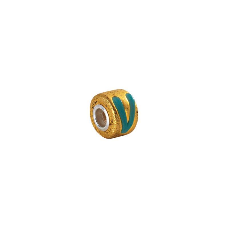 Holiday Ideas Kera Gold & Turquoise Murano Glass Wheel Bead