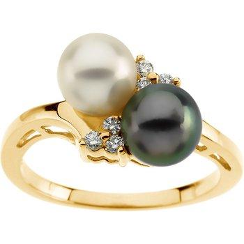 Akoya Black & White Cultured Pearl Ring