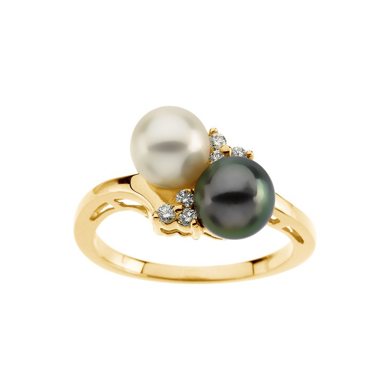 Ladies' Jewelry Akoya Black & White Cultured Pearl Ring