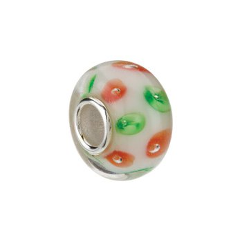 Kera White with Red & Green Swirls Glass Bead