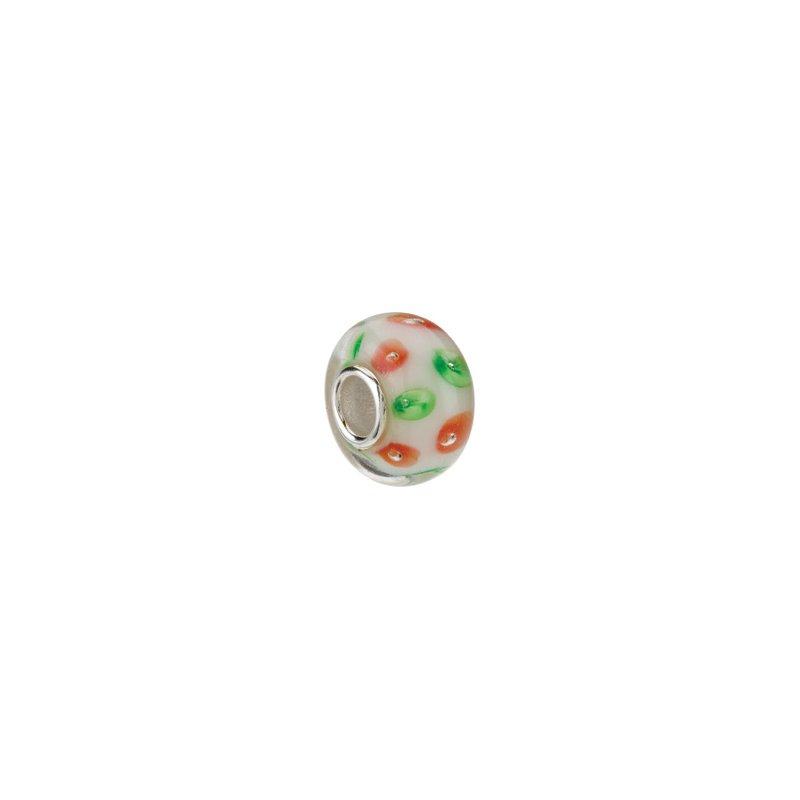 Holiday Ideas Kera White with Red & Green Swirls Glass Bead